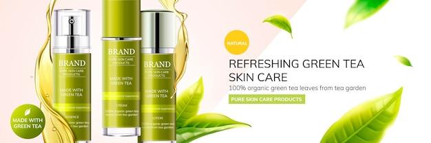 Odświeżające produkty do pielęgnacji skóry z zieloną herbatą z liśćmi latającymi w powietrzu na tle geometrii, ilustracja 3d