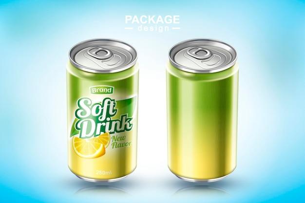 Odświeżający metalowy napój bezalkoholowy można zaprojektować w ilustracji 3d, jeden w pustym, a drugi z reklamą