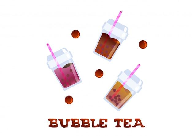 Odświeżanie bubble tea modny wektor napojów