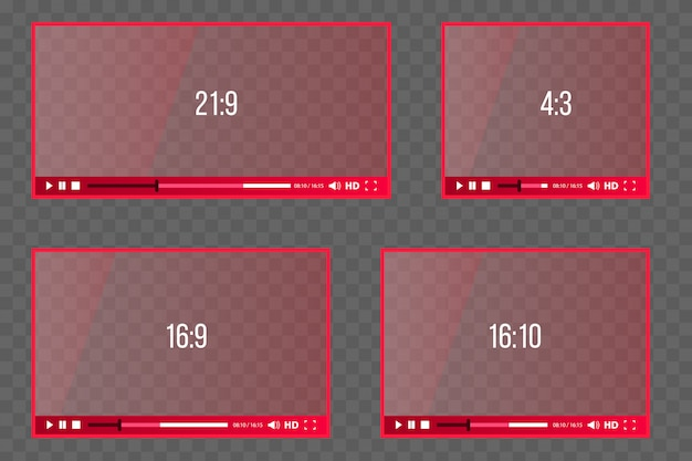 Odtwarzacz internetowy dla wideo, różne proporcje audio.