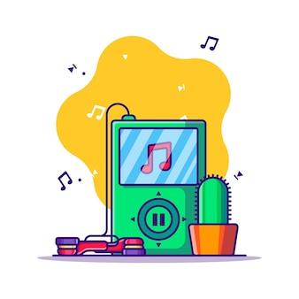 Odtwarzacz Mp3 I Ilustracja Kreskówka Słuchawki Premium Wektorów