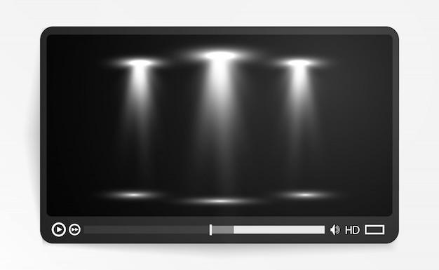 Odtwarzacz multimediów wideo. interfejs dla aplikacji internetowych i mobilnych. ilustracja wektorowa, eps10.