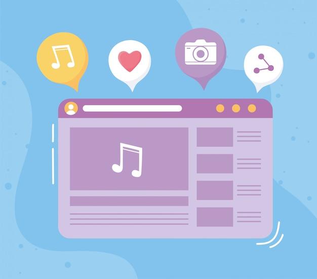 Odtwarzacz muzyczny sieci społecznościowej na ekranie