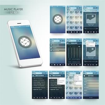 Odtwarzacz muzyki app w niebieskich kolorach