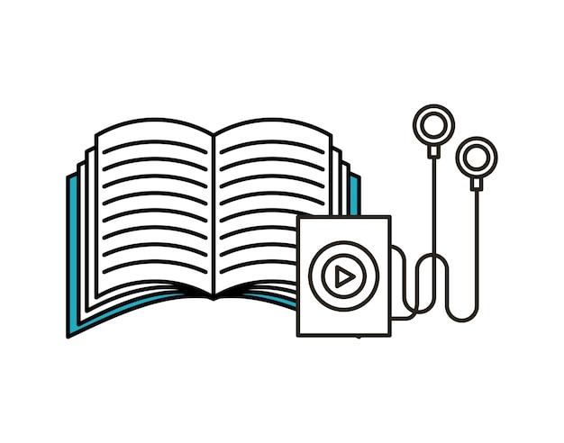 Odtwarzacz muzyki i ikona książki