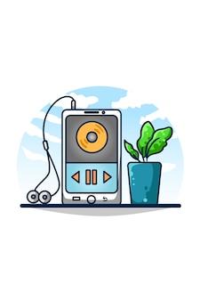 Odtwarzacz muzyki w smartfonie z ozdobnymi spodniami