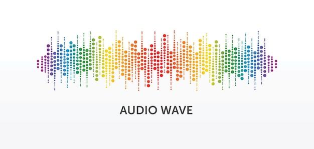 Odtwarzacz muzyki z kręgu pulsu. kolorowe logo fali dźwiękowej. element korektora wektorowego