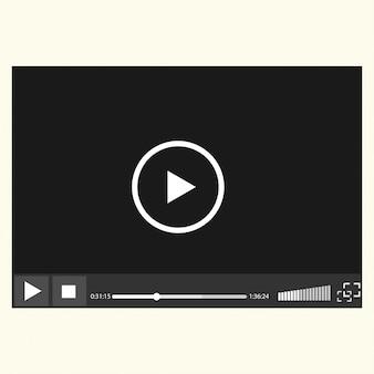 Odtwarzacz wideo łatwo edytowalny na białym tle,