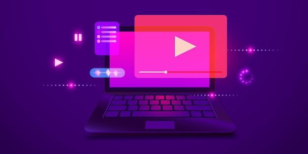Odtwarzacz wideo na ekranie laptopa koncepcje multimedialne nowoczesne futurystyczne elementy graficzne