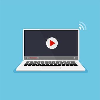 Odtwarzacz wideo na monitorze ekran laptopa z ikoną odtwarzania koncepcja filmu