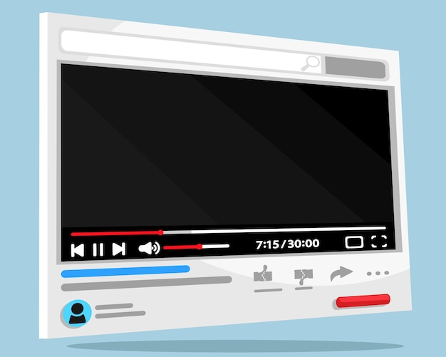 Odtwarzacz wideo. oglądanie wideo na kanale, panel 3d. makieta, miejsce na tekst