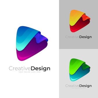 Odtwórz logo i kolorową technologię projektowania, ikona dźwięku