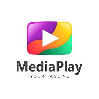 Odtwórz logo mediów nowoczesne kolorowe