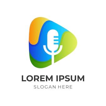 Odtwórz logo nagrywania, mikrofon i graj, połączenie logo z kolorowym stylem 3d