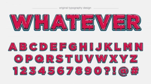 Odważna czerwona kapiąca typografia