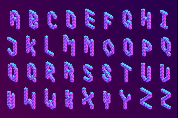 Odważna kolorowa izometryczna piksel 3d czcionka