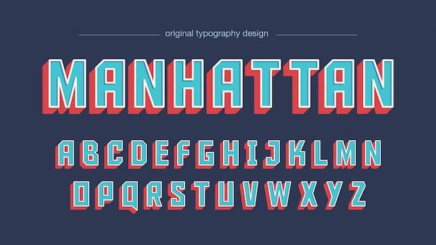 Odważna niebieska, czerwona, kwadratowa, zabytkowa typografia