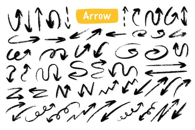 Odważna strzałka rysunek ręka doodle zestaw kolekcji