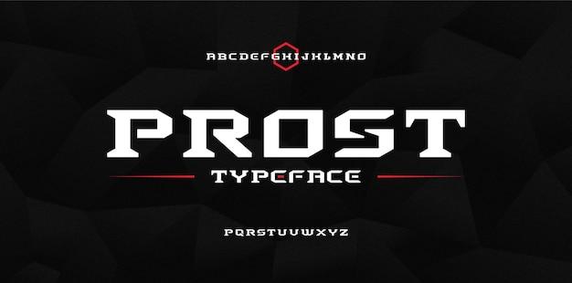 Odważne nowoczesne mocne techno, czcionka w stylu wyświetlania sci fi sport, abstrakcyjny geometryczny zestaw czystych liter krój pisma szeryfowego prost