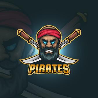 Odważne Pirackie Logo Esportowe Premium Wektorów