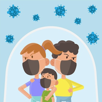 Odważni rodzice i dziecko chronione przed wirusem