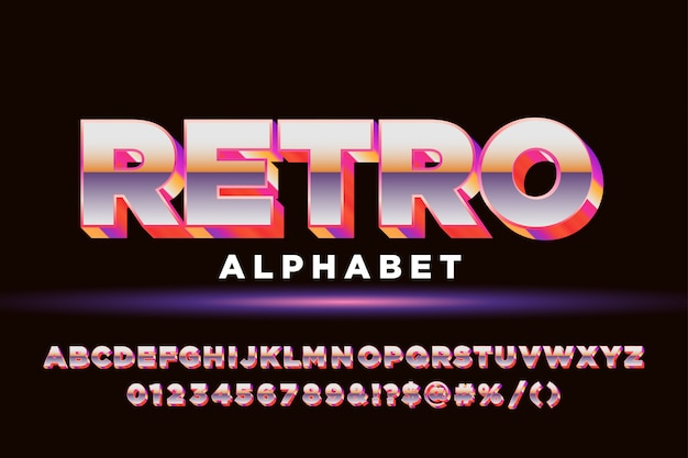 Odważny alfabet retro z lat 80. dla stylu retro