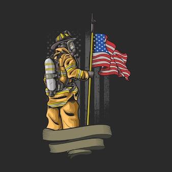 Odważny amerykański strażak na czarnym tle