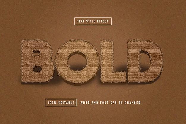 Odważny brązowy materiał edytowalny efekt tekstu