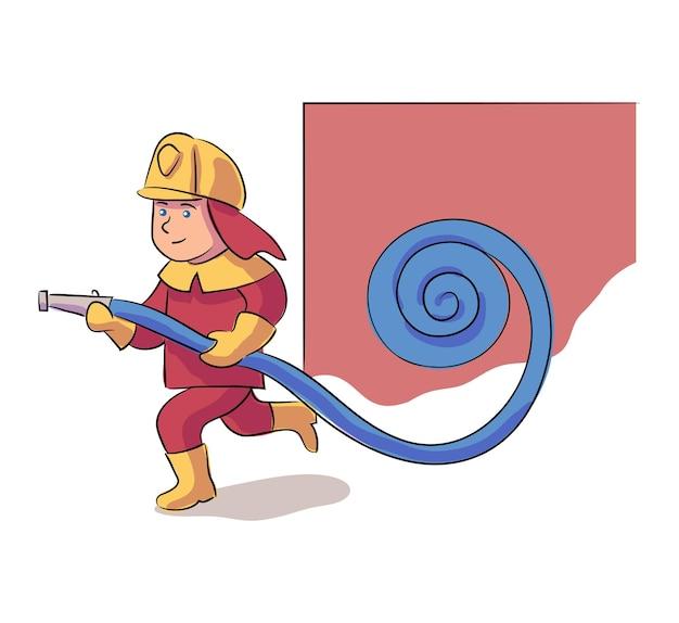 Odważny chłopiec postać strażaka w mundurze ochronnym i hełmie