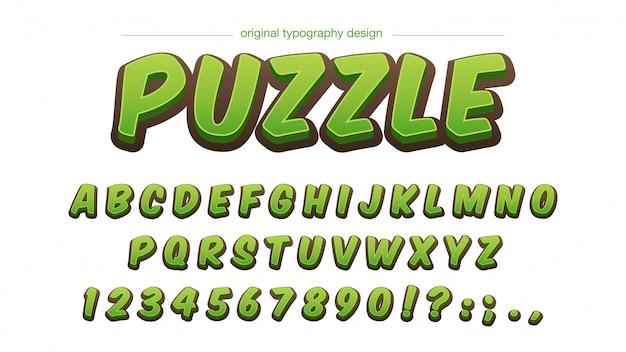Odważny zielony typografia kreskówka