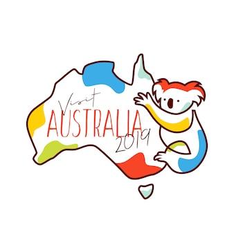 Odwiedź australię 2019 ilustracji wektorowych towarów