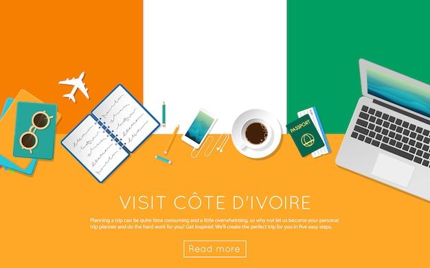 Odwiedź baner internetowy wybrzeża kości słoniowej lub materiały drukowane.