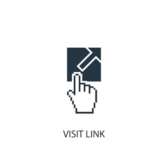 Odwiedź ikonę łącza. prosta ilustracja elementu. odwiedź projekt symbolu koncepcji łącza. może być używany w sieci i na urządzeniach mobilnych.
