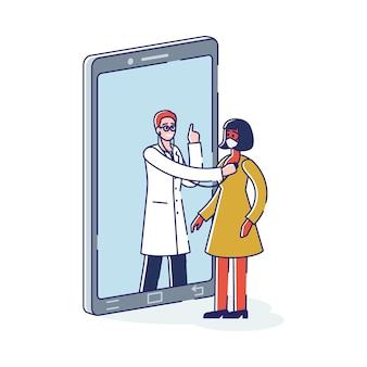 Odwiedź lekarza online kobietę w masce na twarz podczas spotkania z lekarzem