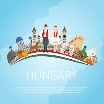 Odwiedź węgry cloud concept