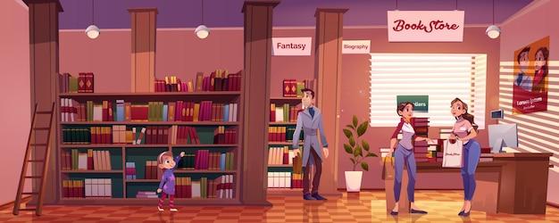 Odwiedzający w księgarni z ludźmi wybierają książki