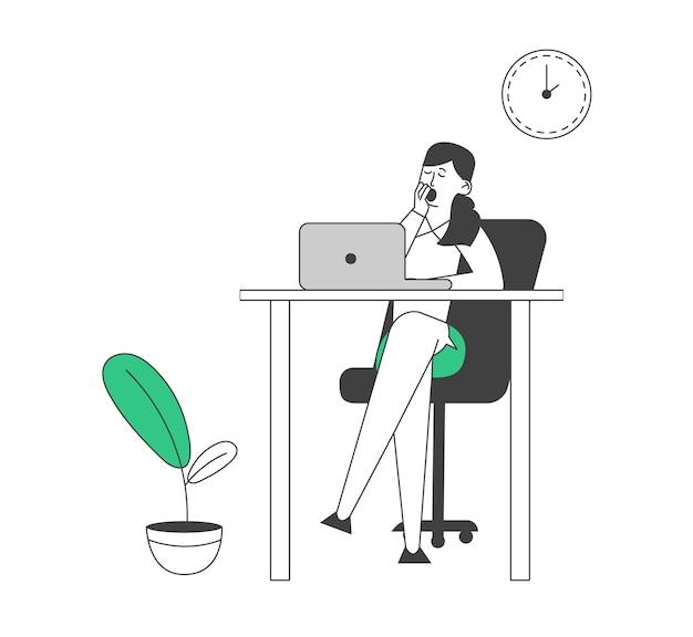 Odwlekanie pracownik leniwy bizneswoman ziewanie