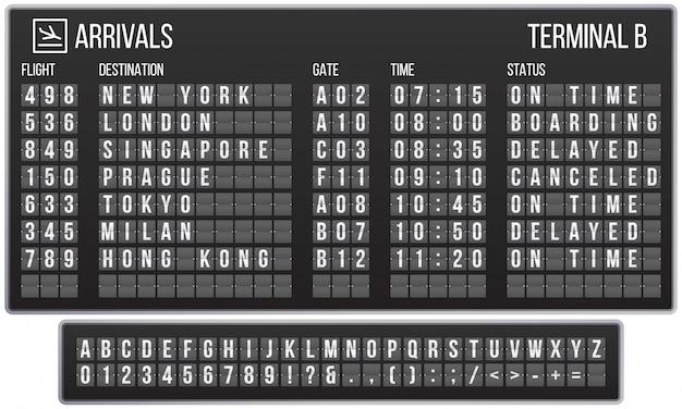 Odwróć czcionkę tablicy wyników. tablica przylotów lotniska, tablice wyników przylotów i odlotów listów realistyczny zestaw