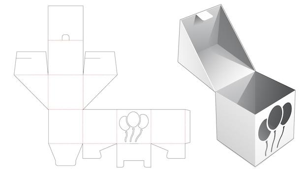 Odwróć kwadratowe pudełko z szablonem wycinanym w kształcie balonu