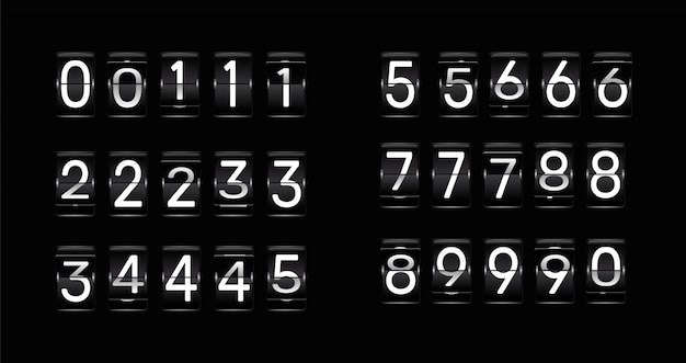 Odwróć liczby zegarowe. retro animacja odliczania, mechaniczny numer tablicy wyników i obrotowe liczniki.