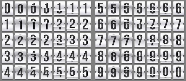 Odwróć liczby zegarowe. retro animacja odliczania, mechaniczny numer tablicy wyników i zestaw liczników numerycznych