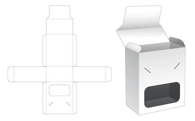 Odwróć pudełko i zablokowany punkt z szablonem wycinanym w oknie