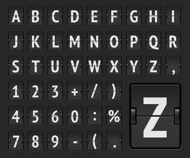 Odwróć regularny alfabet linii lotniczej, aby wyświetlić informacje o miejscu docelowym lub przybyciu. mechaniczna czcionka tablicy wyników terminalu lotniskowego dla informacji o odlotach i pokazujących rozkład jazdy. ilustracja wektorowa.