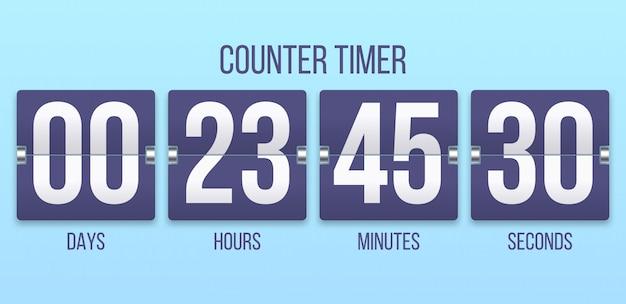 Odwróć zegar. odliczanie dni, liczenie godzin i minut. ilustracja zegarów flipclock