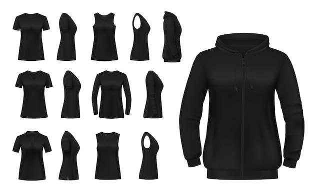Odzież damska izolowana koszulka, bluza z kapturem i koszule z długim rękawem oraz podkoszulek.