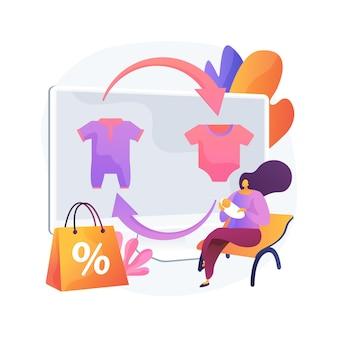 Odzież dla dzieci w handlu abstrakcyjna koncepcja ilustracji wektorowych. używane zabawki i ubrania dla dzieci w zamian za gotówkę lub kupony, sklep z modą dziecięcą, odzież używaną, artykuły dziecięce, abstrakcyjna metafora sklepu odsprzedaży.