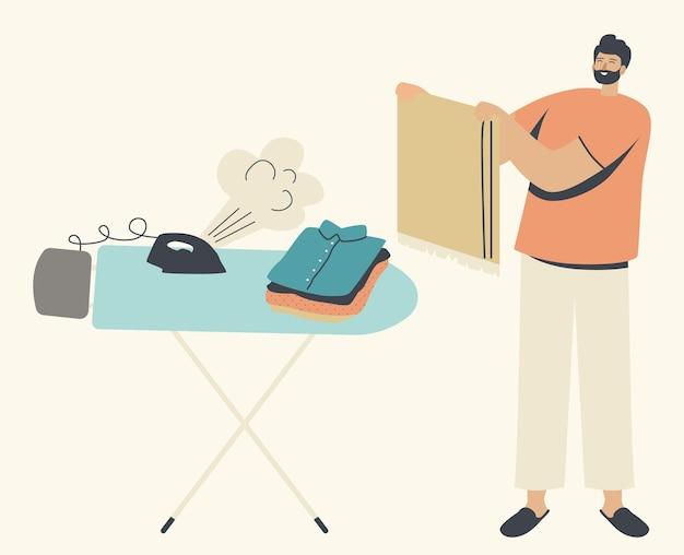 Odzież do prasowania mężczyzna. ilustracja procesu sprzątania męskiej postaci gospodarstwa domowego