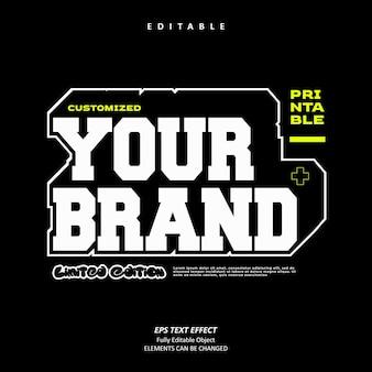 Odzież dostosuj efekt tekstowy logo edytowalny premium wektorów