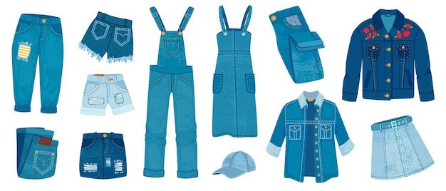 Odzież jeansowa. dorywcza moda z przetarciami z denimu. kreskówka modna kurtka dżinsowa, spodnie i szorty, spódnice i sukienkę. niebieskie modele strojów, wektor zestaw. ilustracja odzież modny model, nosić model tkaniny denim