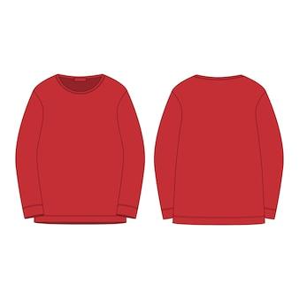 Odzież sportowa w czerwonej bluzie na białym tle. szkic techniczny z przodu iz tyłu.